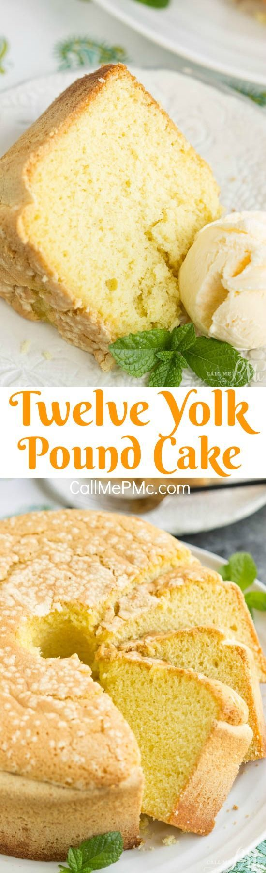 Twelve Yolk Pound Cake is buttery and luscious! Versatile basic cake that's great with ice cream! Get the recipe> http://www.callmepmc.com/twelve-yolk-pound-cake/?utm_campaign=coschedule&utm_source=pinterest&utm_medium=Paula | CallMePMc.com&utm_content=Twelve Yolk Pound Cake: