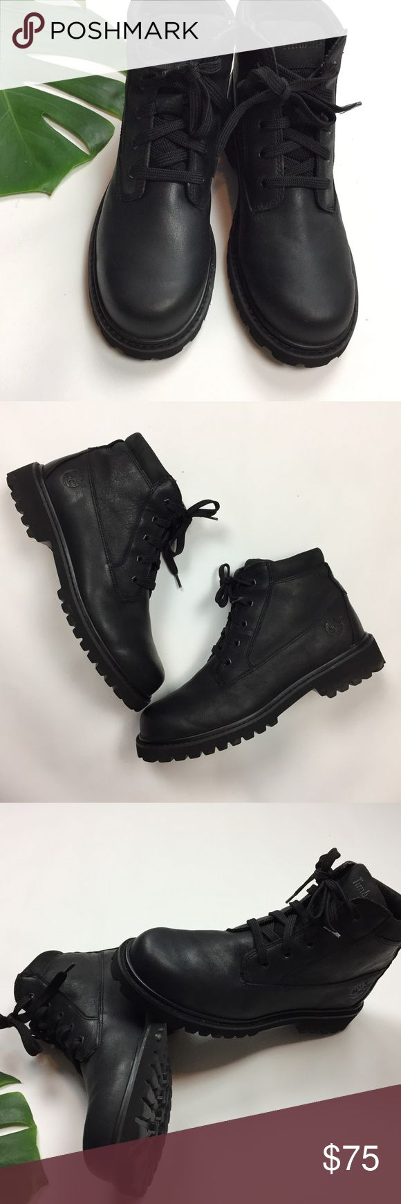 Timberland 🔥 Sz 9 black leather boots like new 6 inch premium all black leather high quality casual dress lace up Timberland boots in like new condition. Features soft leather exterior.    Streetwear urban fashion cool style Timberland Shoes Boots