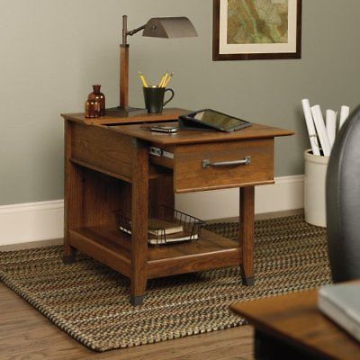 Carson Forge End Table with Charging Station7  Color - Cherry, Manufacturer - Sauder Office Furniture, Manufacturer Part Number - 413350, Material - Laminate,