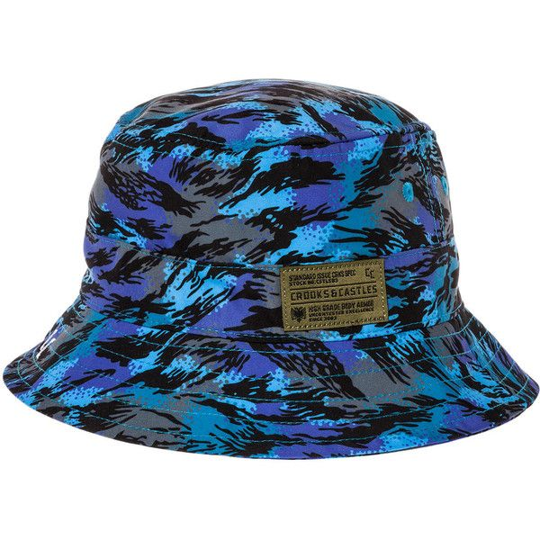 Crooks and Castles The Cerulean Bucket Hat in Cerulean Camo ($29) ❤ liked on Polyvore featuring men's fashion, men's accessories, men's hats, hats, cerulean, mens bucket hats and mens camo hats