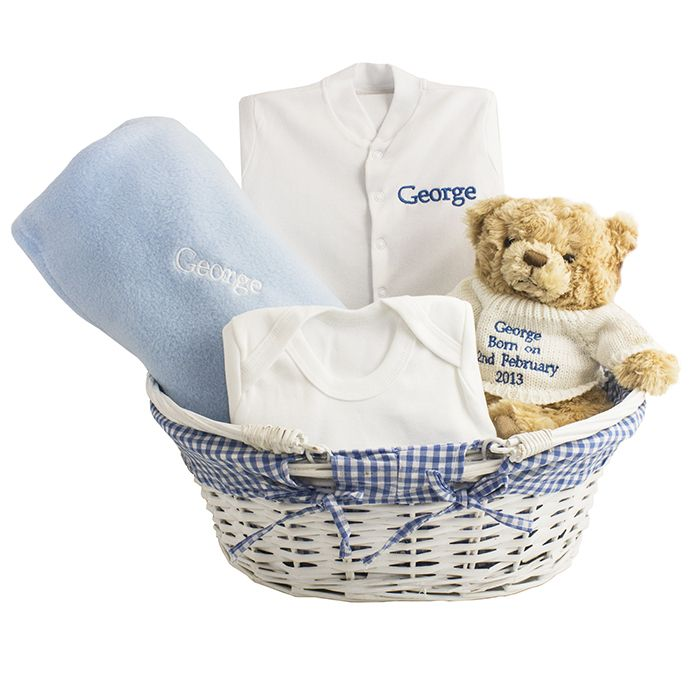 Blue Baby Basket. These luxury baskets contains  - A gorgeous fluffy teddy wearing a cute cream jumper, personalise with any message over 4 lines, 16 characters per line - White Babygrow (0-3 Months) and blue soft fleece Comforter, personalise with a name, 12 characters  - A white vest (0-3 Months) is also included  £39.99 Free UK Delivery