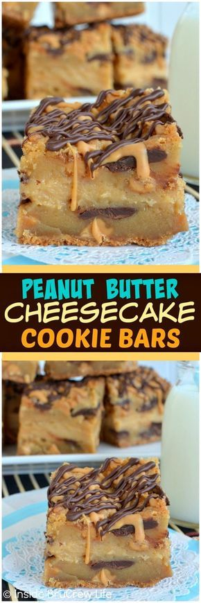 Peanut Butter Cheesecake Cookie Bars - peanut butter cookies layered with peanut butter cheesecake & chocolate make these bars amazing! Awesome dessert recipe!