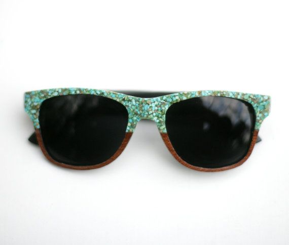 Summer must-have: turquoise-faced sunglasses.