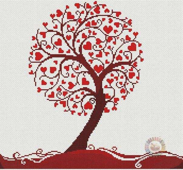 Árbol de hojas en forma de corazón a punto de cruz                                                                                                                                                      Más