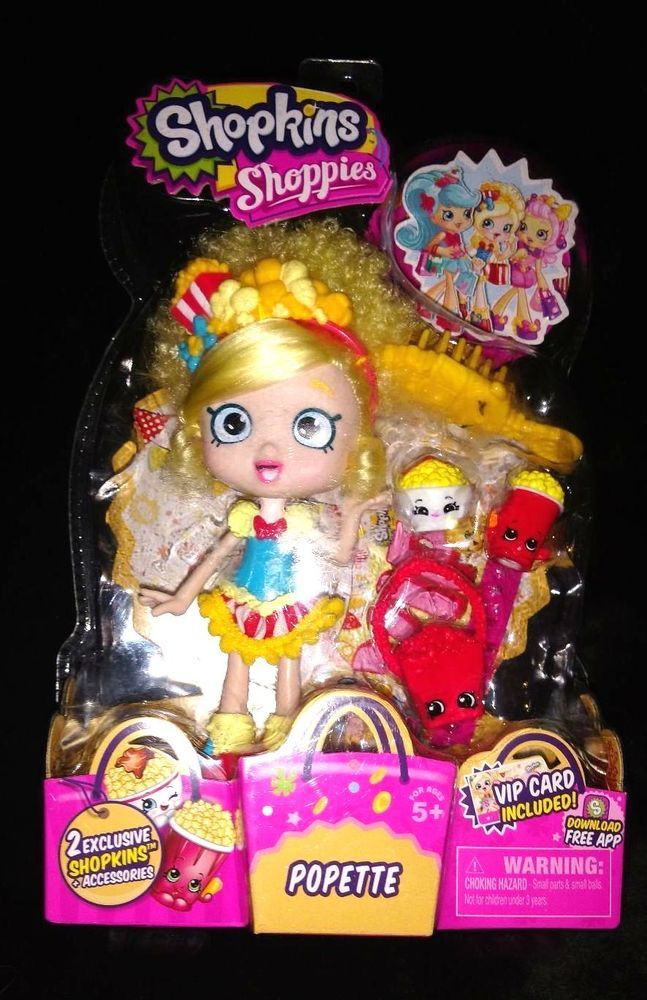 SHOPKINS SHOPPIES POPETTE & VIP CARD + 2 EXCLUSIVES SHOPKINS COMBINED SHIPPING #MooseToys
