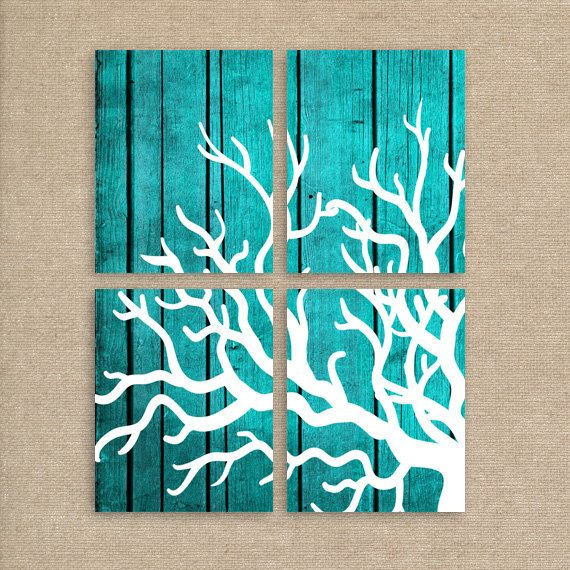 Coral Art Print, Turquoise Beach Decor on Wood, Set of Four 8x10 Inch Coral Prints, Home Decor, Modern Art