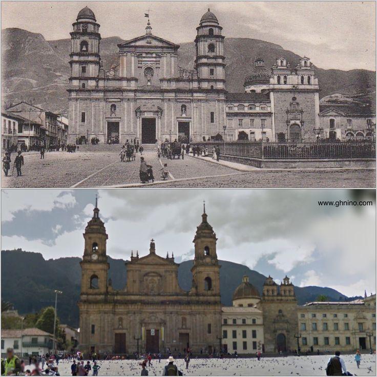 100 años exactos de diferencia entre estas dos fotos de la Plaza de Bolivar de Bogotá, en 1916 y 2016