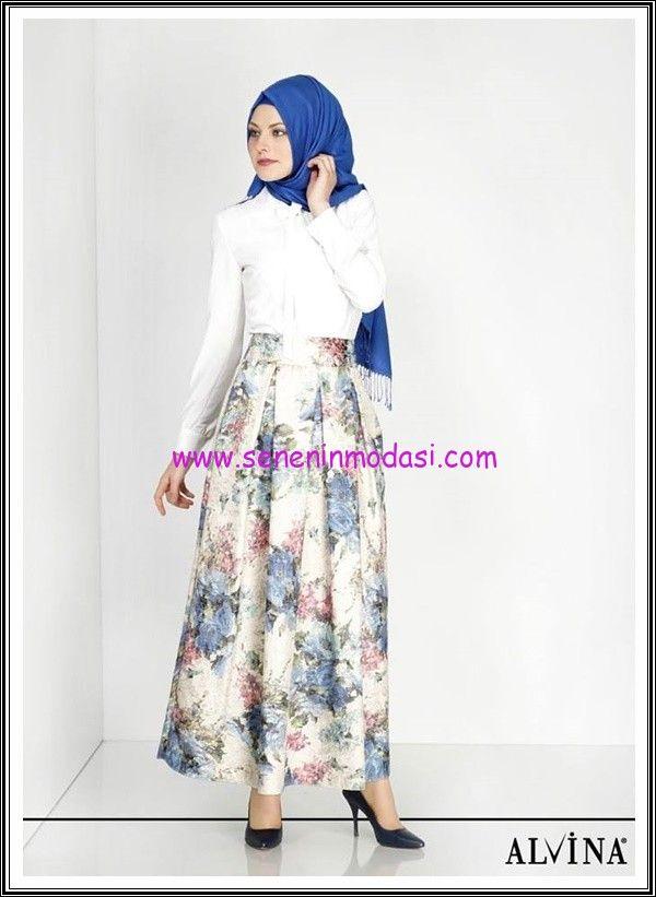 Alvina 2015 jakarlı tesettür etek #Alvina #skirts #etek #hijab #tesettür #moda #fashion #jacquard #floral #pattern