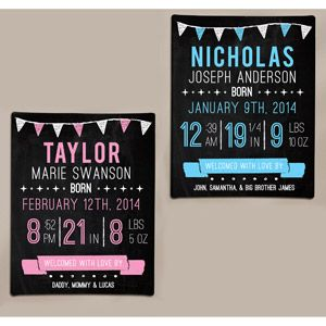 Personalized Birth Information Chalkboard Art Canvas