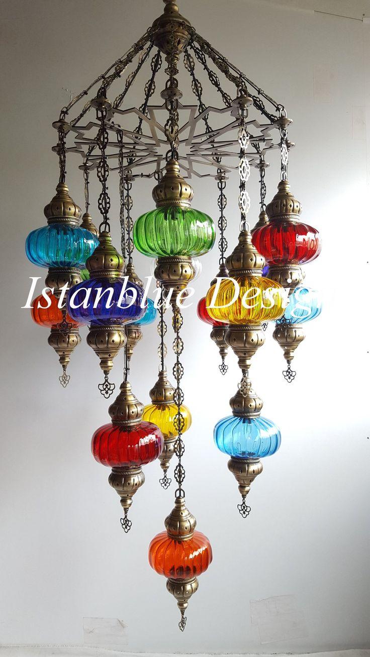 16 Globe Multi Colored BLOWN GLASS Turkish Handmade Ottoman Chandelier – ISTANBLUE DESIGN