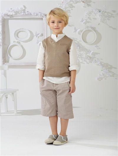 Pull garçon sans manches en coton GRIS FONCE+TAUPE CLAIR+VIOLET+BLANC - vertbaudet enfant