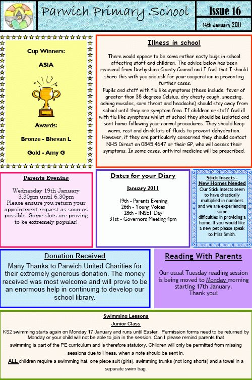 School newsletters 15 and 16