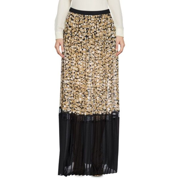 Patrizia Pepe Long Skirt ($127) ❤ liked on Polyvore featuring skirts, camel, flared skirt, brown pleated skirt, elastic waist maxi skirt, long lace skirt and brown maxi skirt