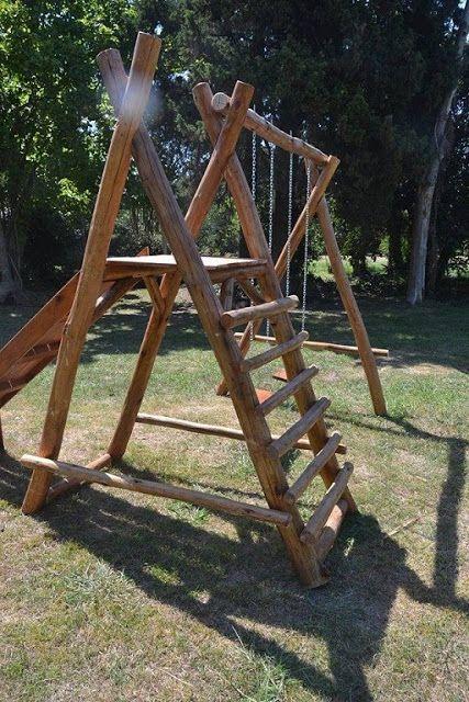 Juegos Infantiles De Jardin De Madera Y Troncos Decoractual