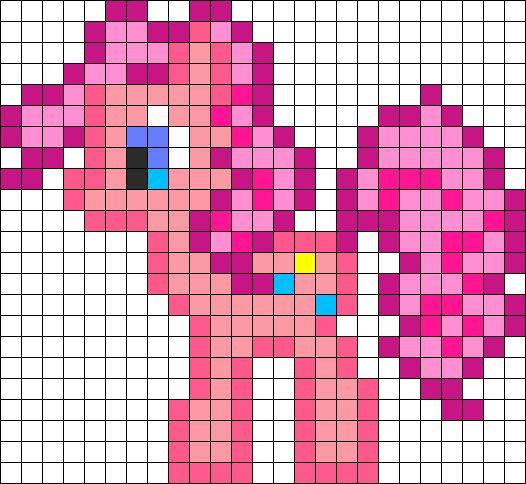 Pinkie Pie Perler Bead Pattern | Bead Sprites | Characters Fuse Bead Patterns