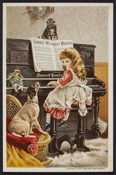 Trade cards for Mason & Hamlin Organ and Piano Co., Boston, New York, Chicago, 1887