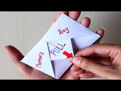 Diy Surprise Message Card For Mother S Day Pull Tab Origami Envelope Card Mother S Day Special Origami Envelope Origami Cards Happy Birthday Cards Diy