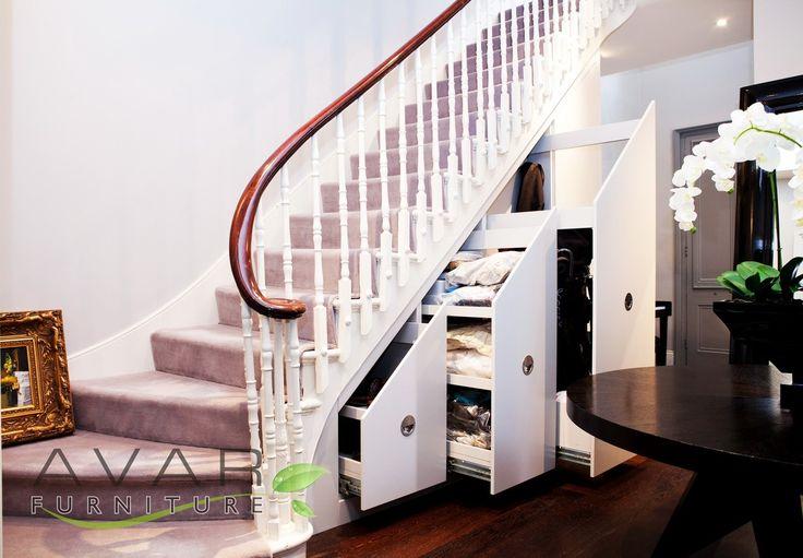 Bespoke under stairs storage, Angeled doors from Avar Furniture