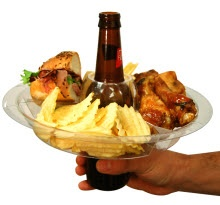 The Go Plate, great for parties. You can have your beer and drink it too.
