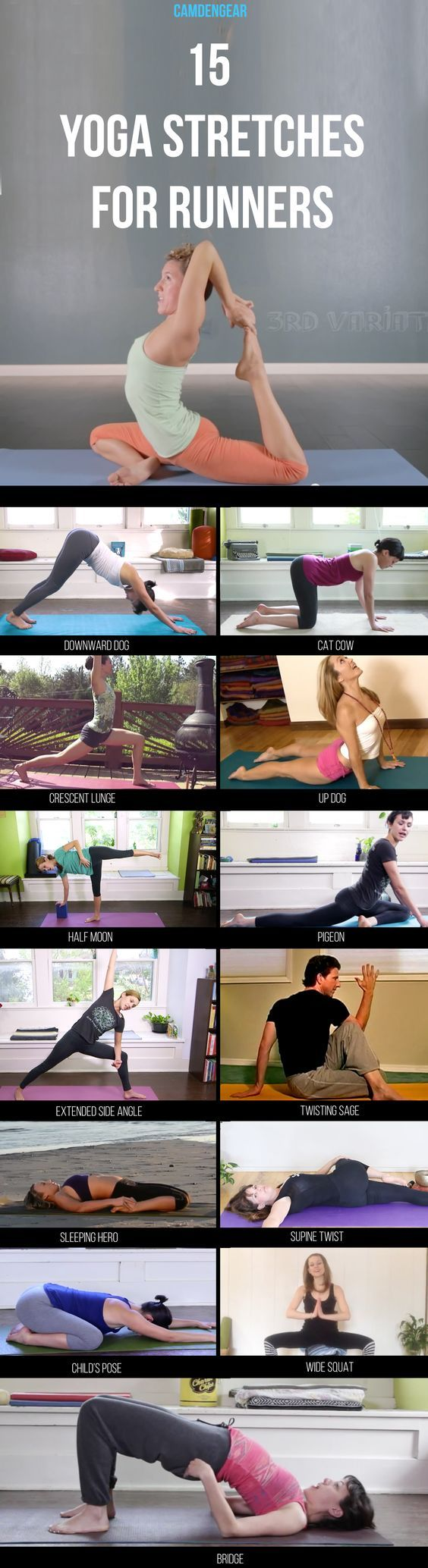 Here are 14 yoga stretches. These poses help you pre and post-run to get those limbs flexible and reduce the chance on injury...: