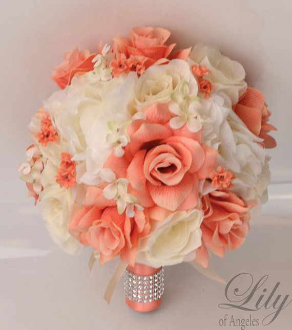 "17 Piece Package Silk Flowers Wedding Bouquet Artificial Bridal Party Bouquets Decoration Centerpiece CORAL IVORY ""Lily of Angeles"" IVCO04"