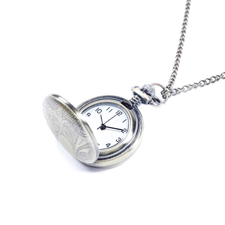 Gold Etched Pendant Watch Chain Necklace