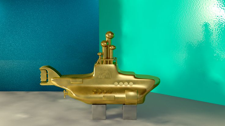3D illustration by Daniel Perilla Submarine #TheBeatles #YellowSubmarin #3dmodel #gold