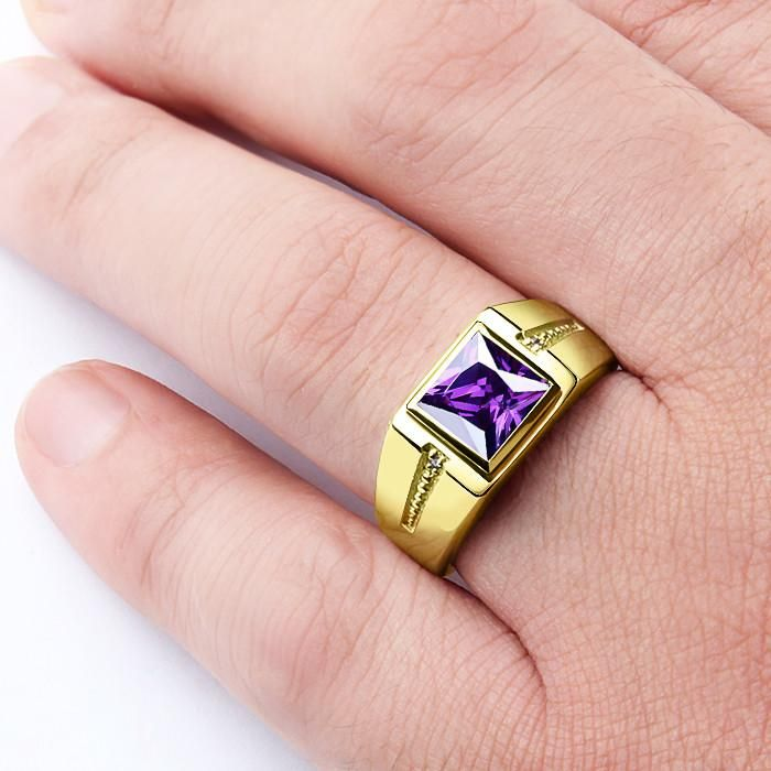 10K Gold Men's Gemstone Ring with Purple Amethyst and Natural Diamonds #emerald #jewelryoftheday #turquoise #agate #amethyst #mensring