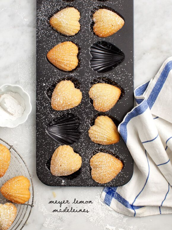 Meyer Lemon Madeleines - Heart-shaped meyer lemon madeleines - a lovely dessert for the one you love on Valentines Day.
