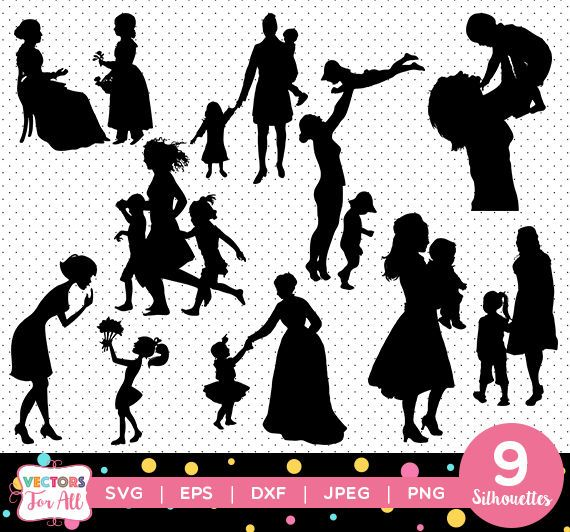 Mother's Day Silhouettes pack - Happy Mother's Day Silhouettes Collection vector clipart digital download svg, png, jpg, eps mom child may by VectorsForAll on Etsy