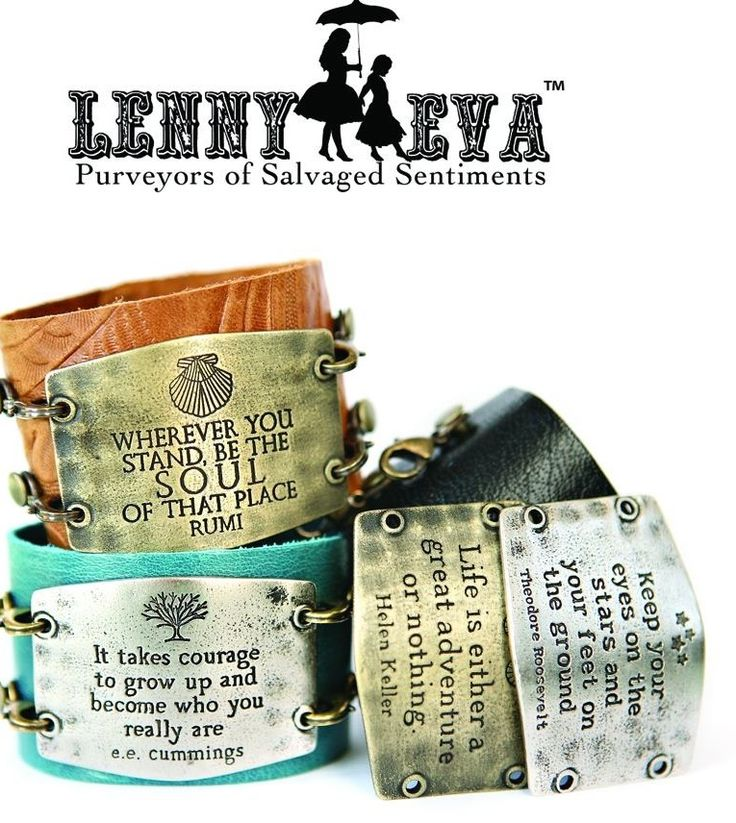 Lenny and Eva Cuffs!  Pick between 2 size leather cuffs and a variety of sentiments!