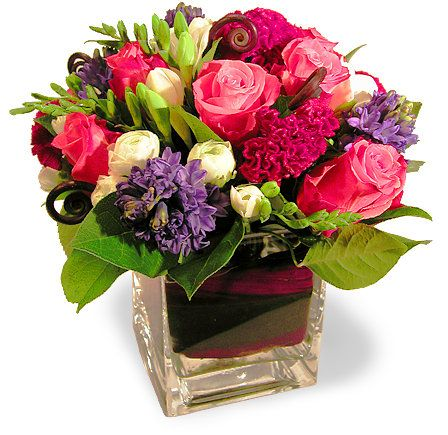 beautiful flower arrangements | beautiful flower arrangement of pink Colombian roses, blue hyacinths ...