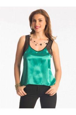 Pretty Secrets Green And Black Polyester Hem Top