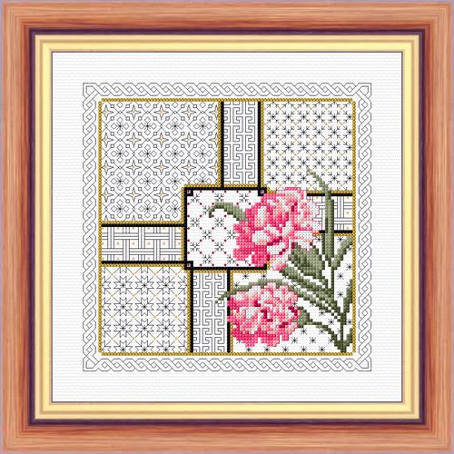 Carnation and Blackwork - Aida Kit