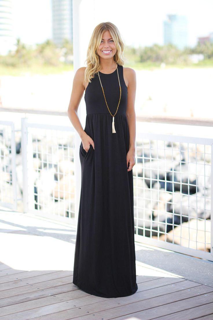 black cute long dress