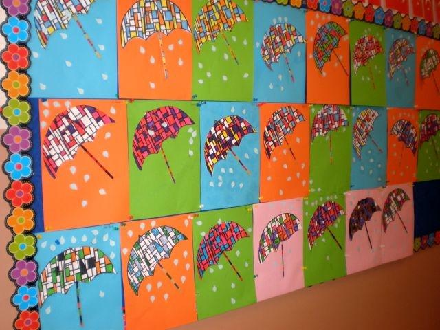 Umbrella Craft Ideas For Kids Part - 19: Umbrella With Mondrain Art
