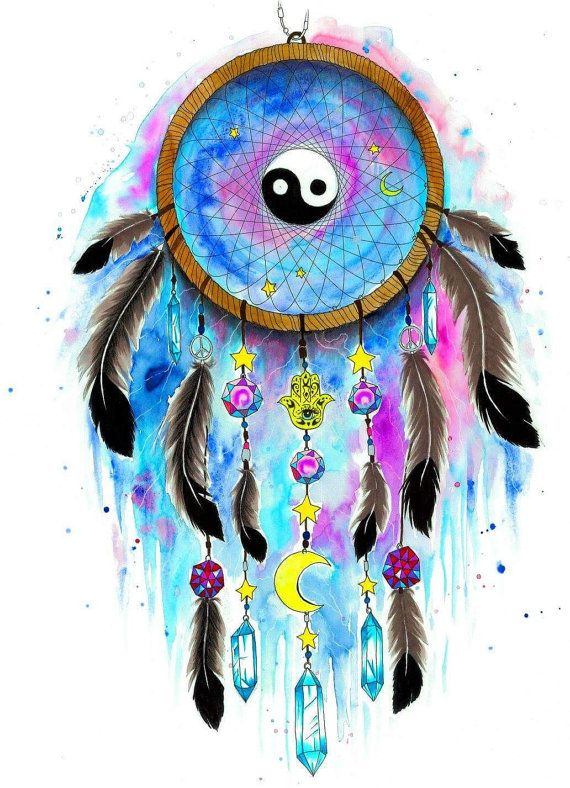 Ying and yang dreamcatcher galaxy signierter Kunst Druck