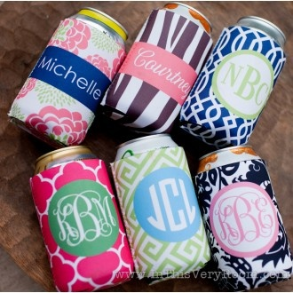 Monogrammed Koozies for the bridesmaids: Party Favors, Monograms Koozi, Bridal Party, Bridesmaid Gifts, Monograms Coozi, Hostess Gifts, Gifts Idea, Party Gifts, Bachelorette Party