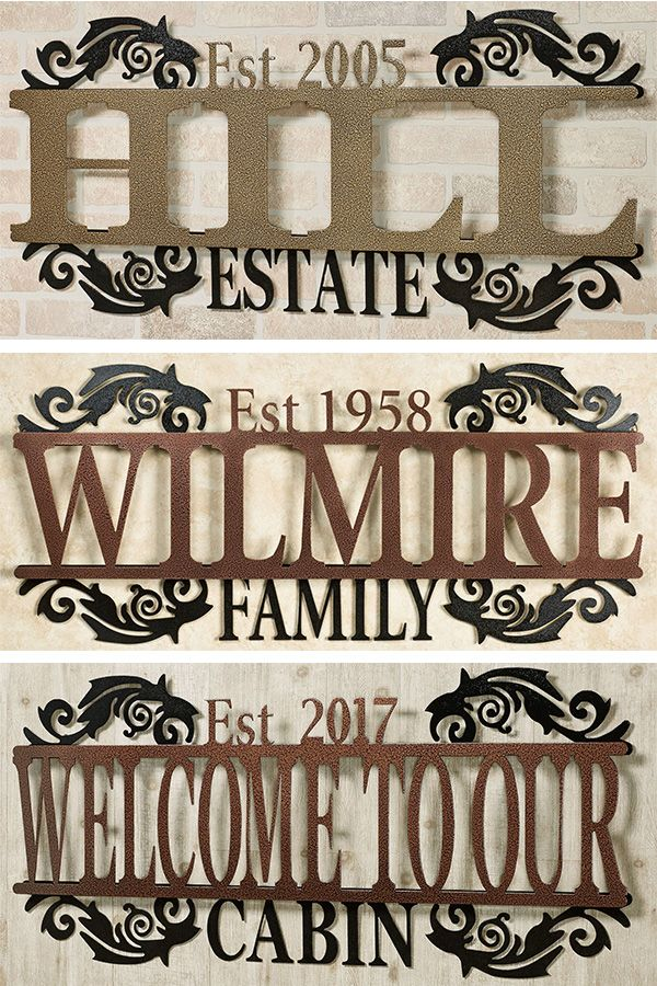 Display The Legacy Of Your Last Name And Established Year In A Sophisticated Display With This Personalized Metal Wall Art Sign Han Metal Wall Art Outdoor Signs Wall Art