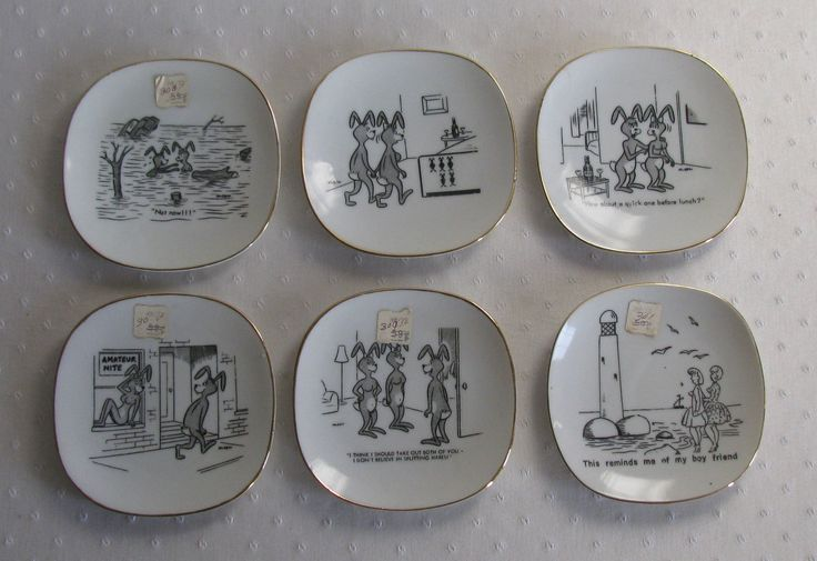 Set of 5 Vintage Naughty Olsen Hareraisers Plates with Bonus Plate.  Made in Japan.  Never Used, with Price Tags. by Snootyparrot on Etsy