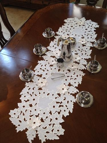 Sharon Table Runner( The Sharon Table Runner Features An Intricate Cutwork Embroidery Style.)