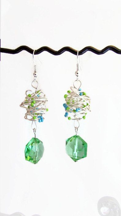 Green glass earrings wire and glass bead blue by KimsHandmadeCave, £10.00