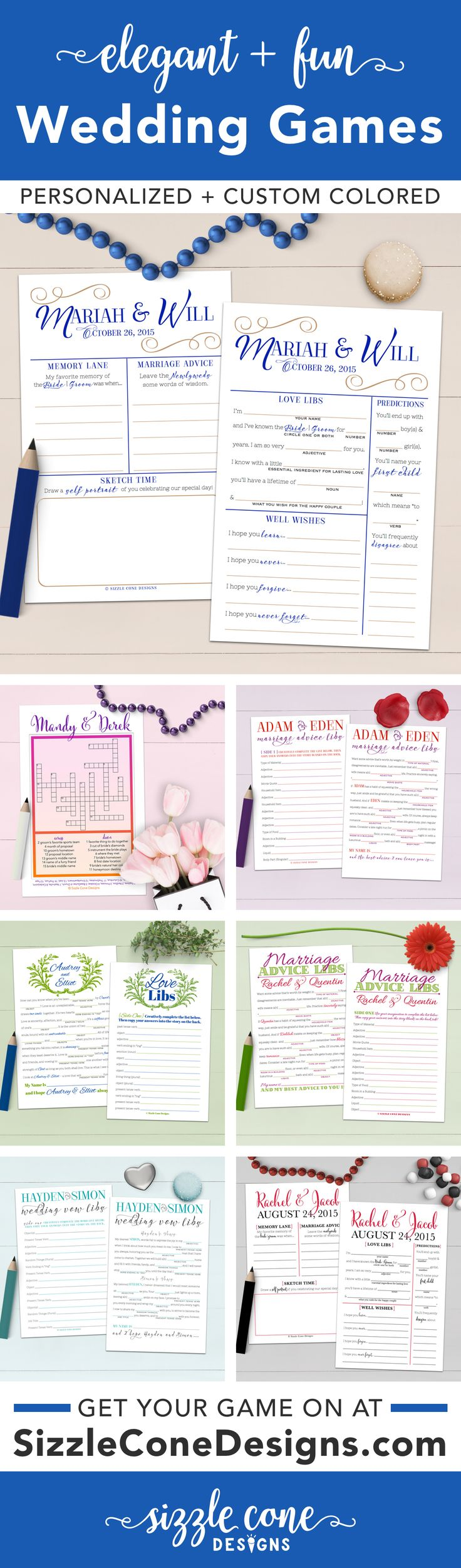 Wedding mad libs, crossword puzzles, guestbook alternatives, & more!