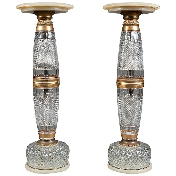 A Pair of Early 20th Century Baccarat Style Cut Crystal & Marble Pedestals