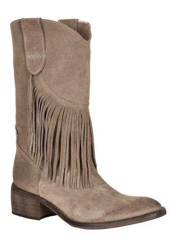 Cream Diana Fringe Boots stone brown 656520 Ruskindsstøvler med frynser – acorns