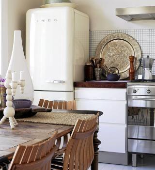 rustic vintage, smeg fridge