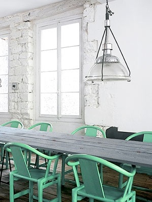 mint chairs #diningroom #green #chairs #industrial #interior (like the exposed stonework contrasting the smooth, nice long dining table)
