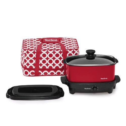 West Bend 84915R Versatility Slow Cooker with Insulated Tote and Transport Lid, 5-Quart, Red // http://cookersreview.us/product/west-bend-84915r-versatility-slow-cooker-with-insulated-tote-and-transport-lid-5-quart-red/  #cooker #pressure #electric