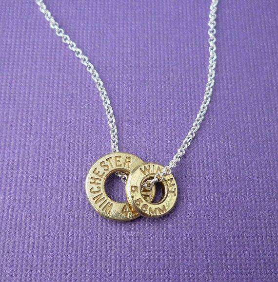 bullet casing top necklace, $35
