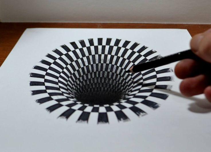 Étonnant Trou noir anamorphique au Crayon (5)